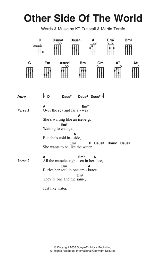 Other Side Of The World | KT Tunstall | Ukulele Lyrics & Chords