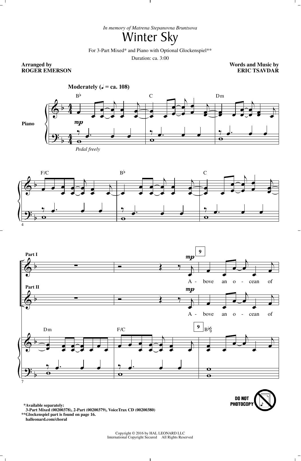 Winter Sky (3-Part Mixed Choir)