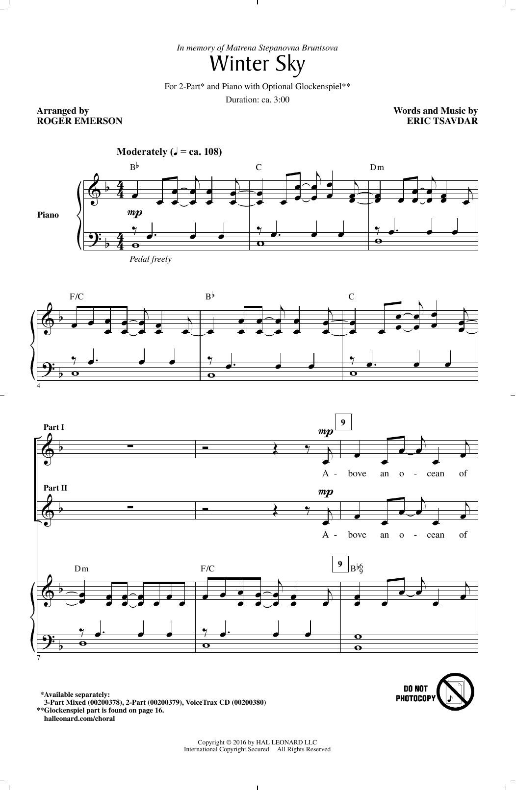 Winter Sky (2-Part Choir)