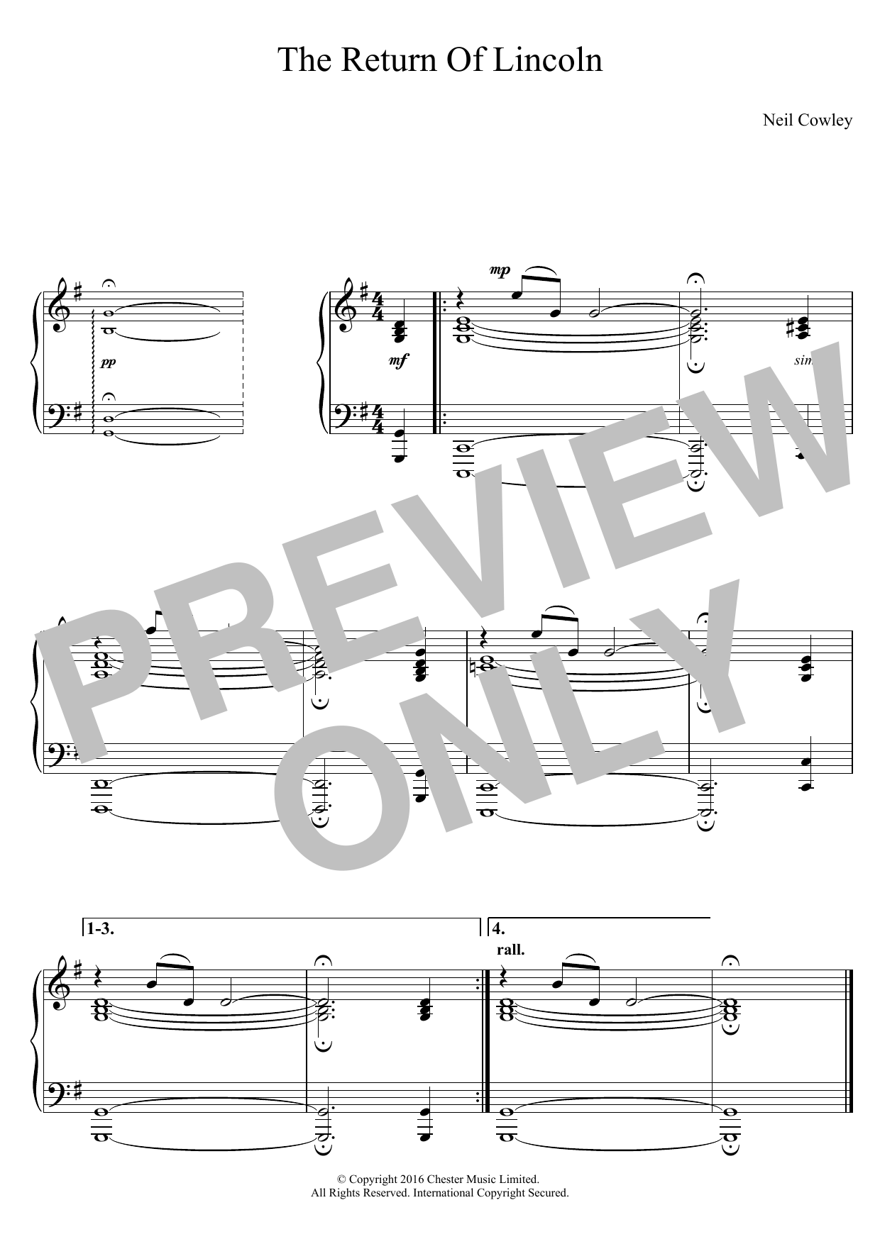 The Return Of Lincoln Sheet Music