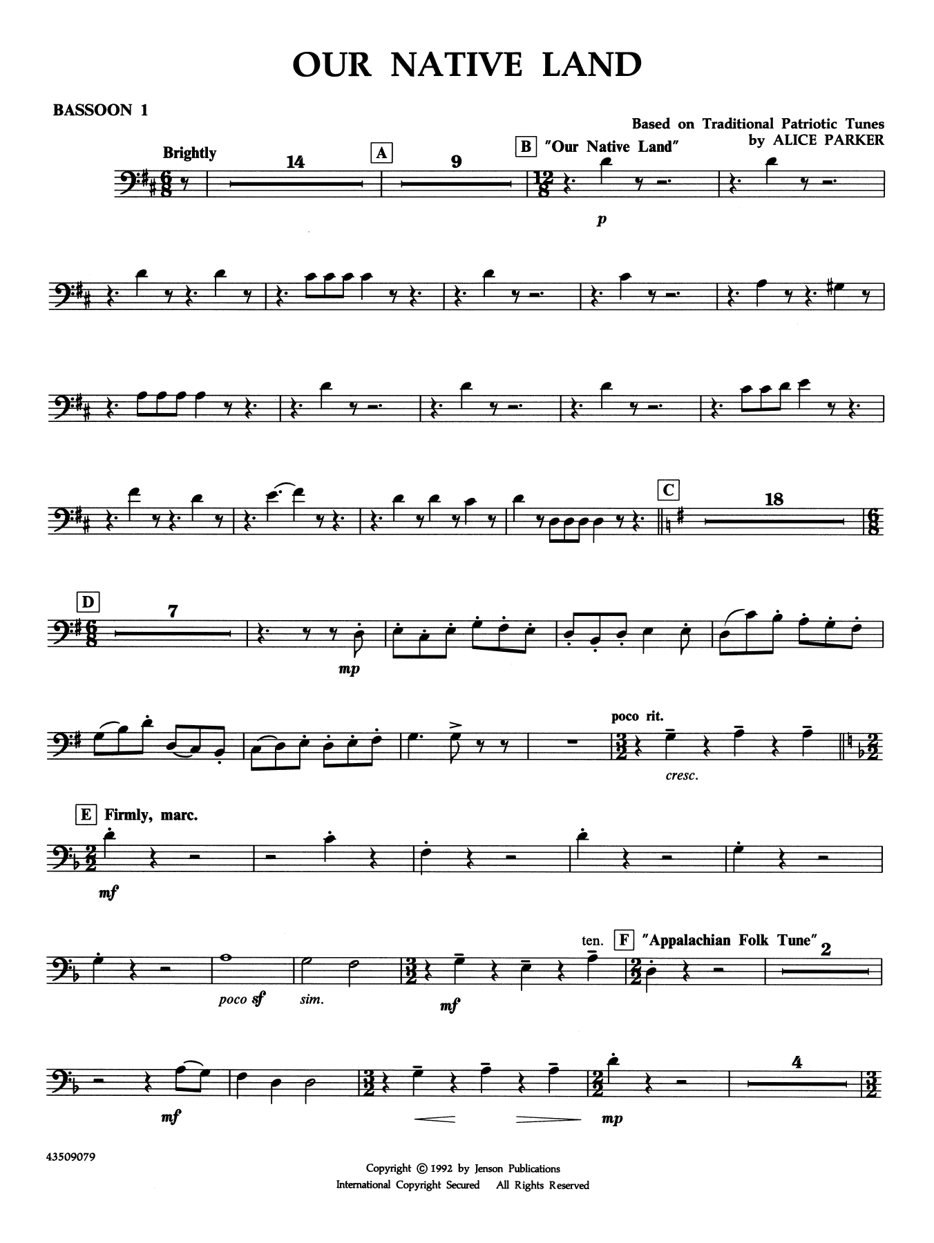 Our Native Land - Bassoon 1 Sheet Music