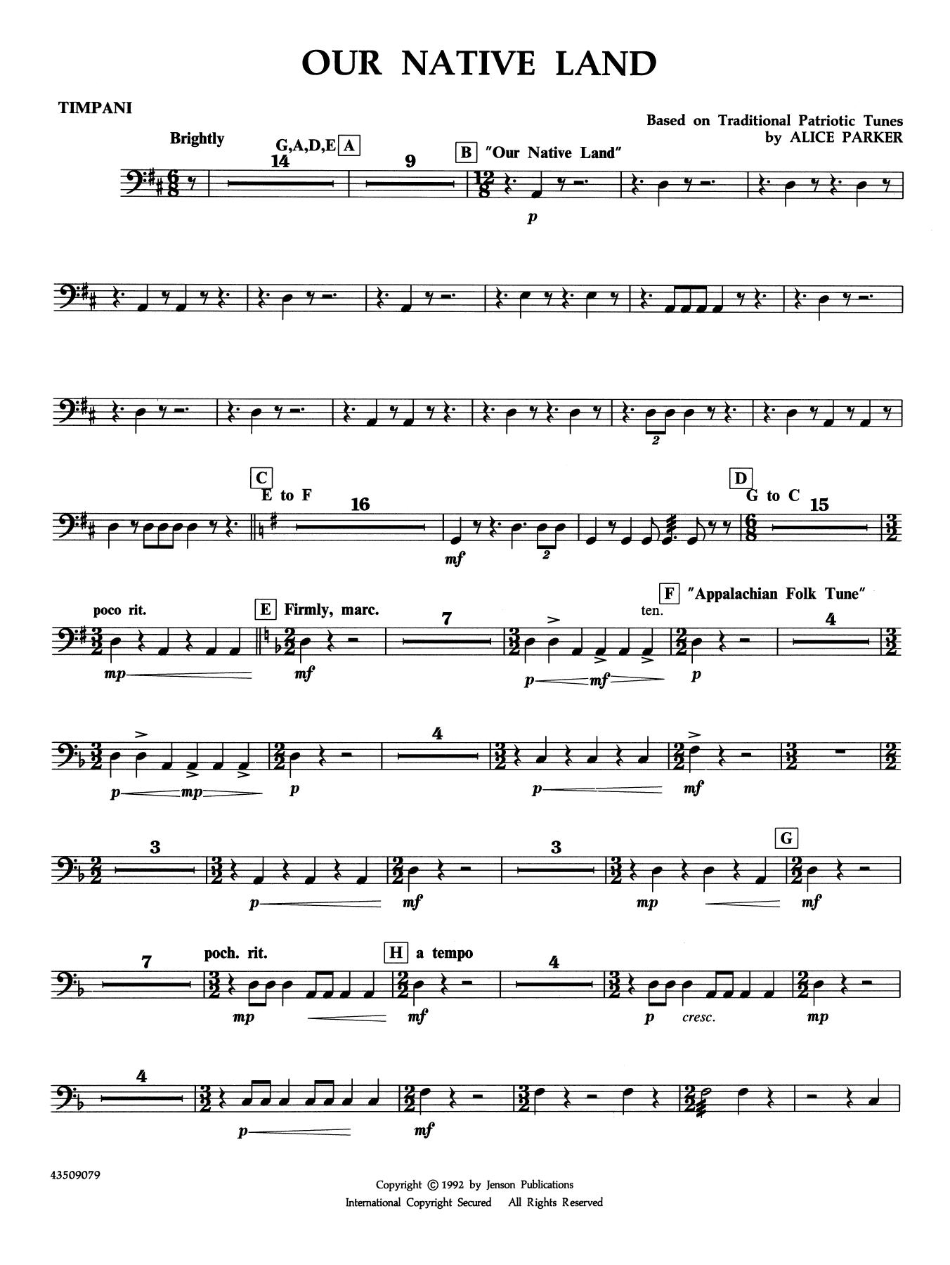 Our Native Land - Timpani (Choir Instrumental Pak)