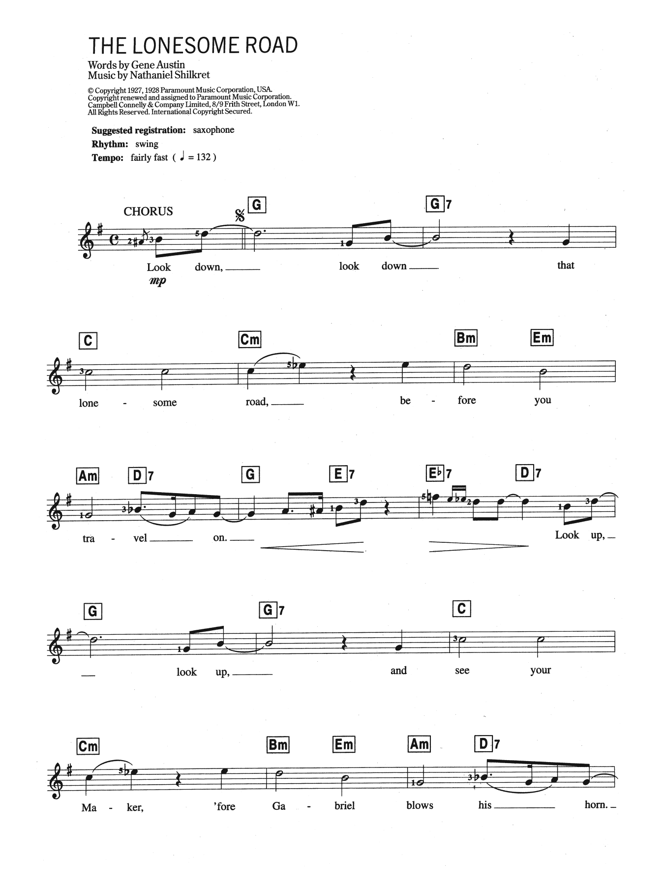 Lonesome Road Sheet Music