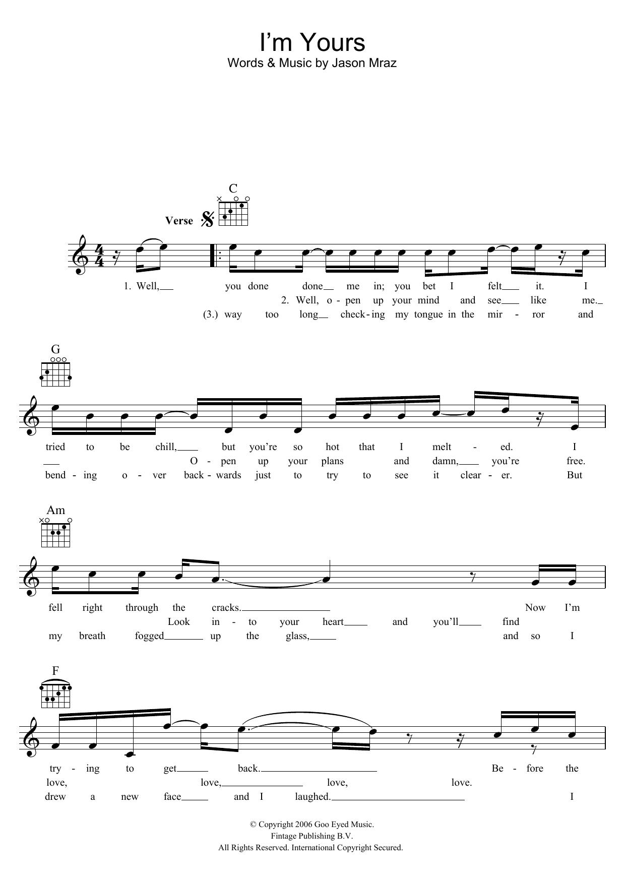 i m yours by jason mraz chords
