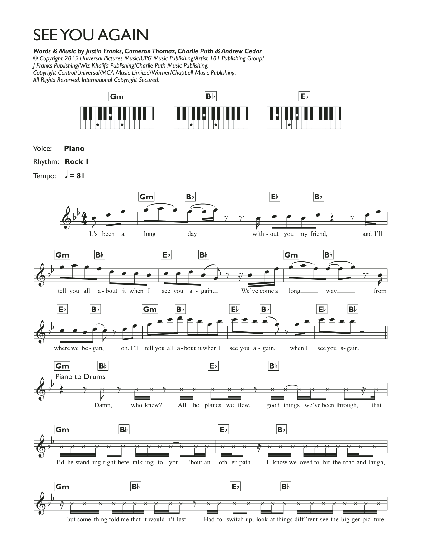 See You Again (feat. Charlie Puth) Sheet Music