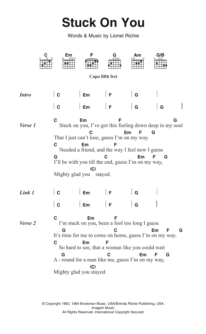 Guitar guitar lyrics : Stuck On You by Lionel Richie - Guitar Chords/Lyrics - Guitar ...