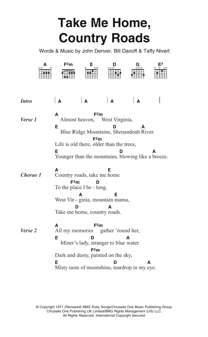 Take Me Home Country Roads Sheet Music John Denver Lyrics Chords