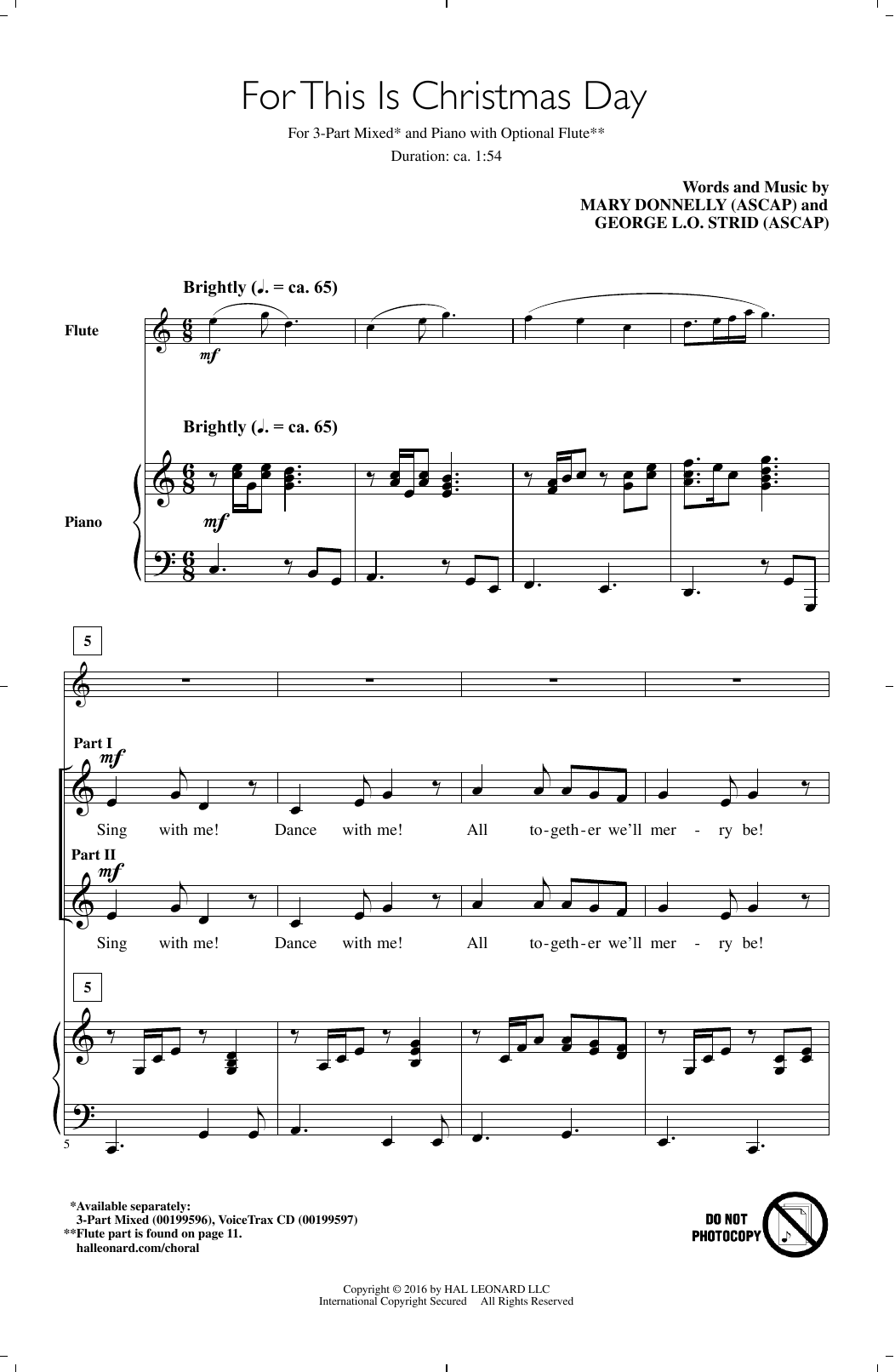 For This Is Christmas Day (3-Part Mixed Choir)
