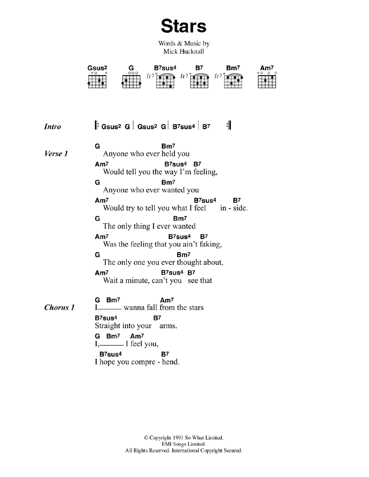 Stars by Simply Red   Guitar Chords/Lyrics   Guitar Instructor