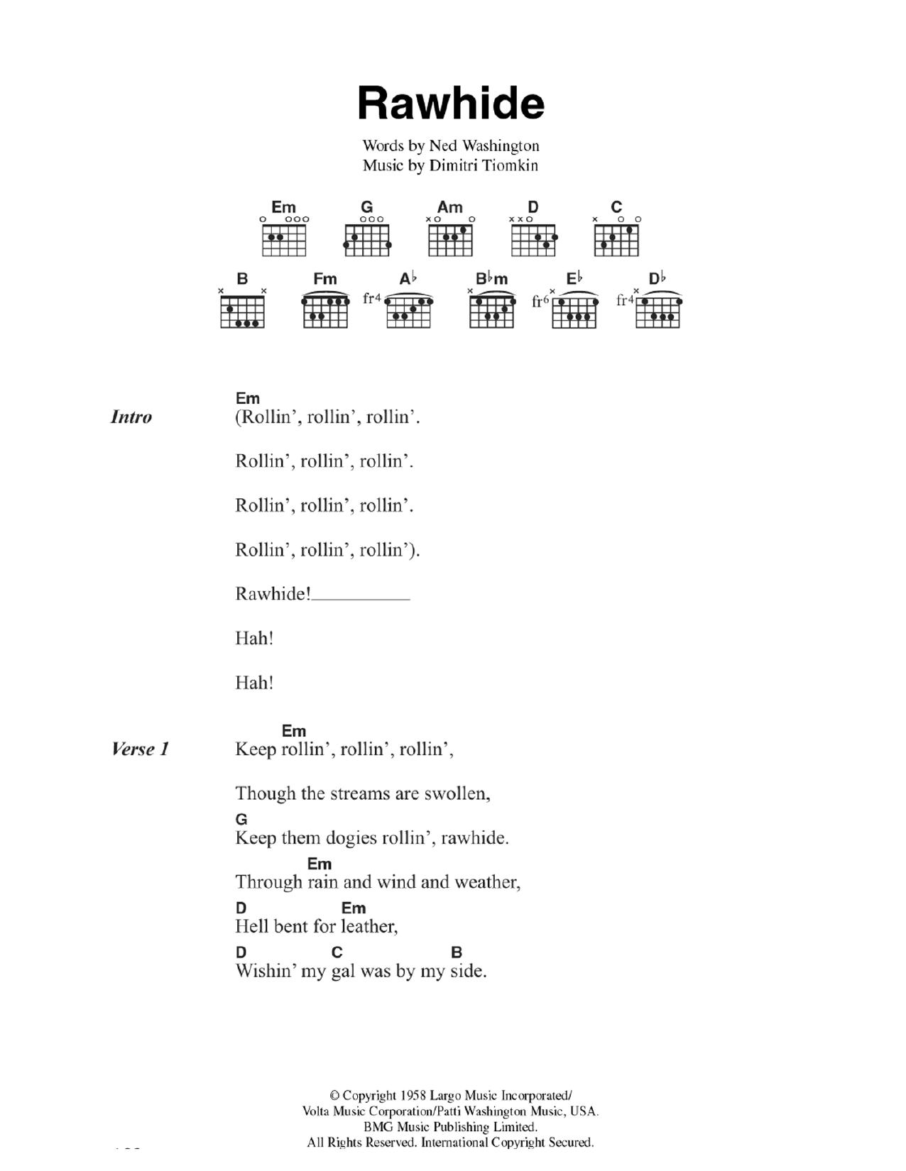 Rawhide Sheet Music