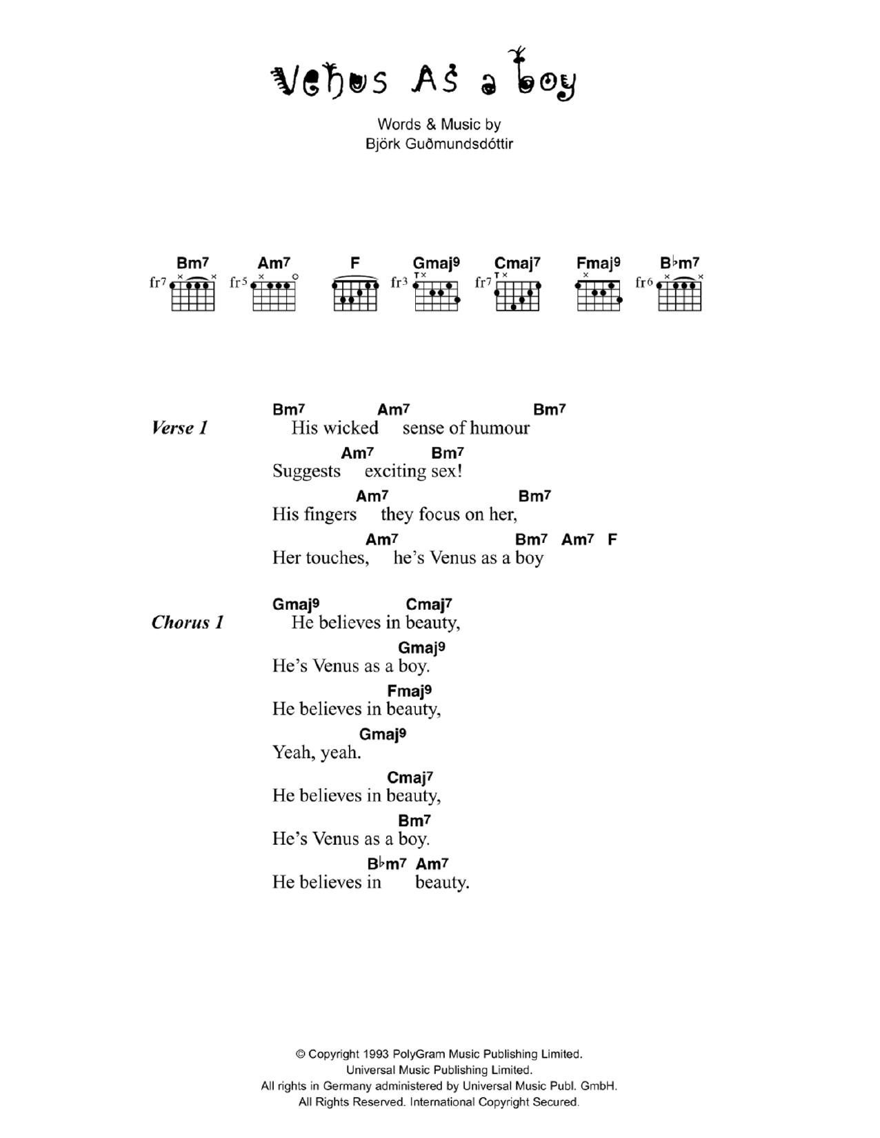 Venus As A Boy Sheet Music