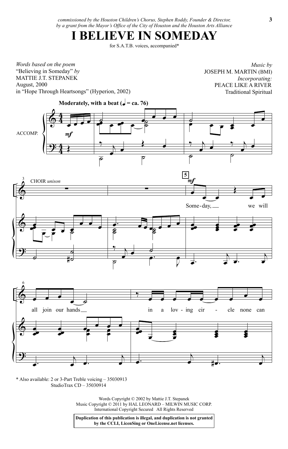 """I Believe In Someday (with """"I've Got Peace Like a River"""") (SATB Choir)"""