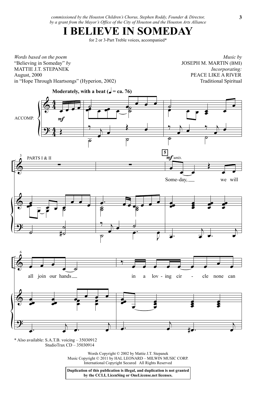 """I Believe In Someday (with """"I've Got Peace Like a River"""") (2-Part Choir)"""