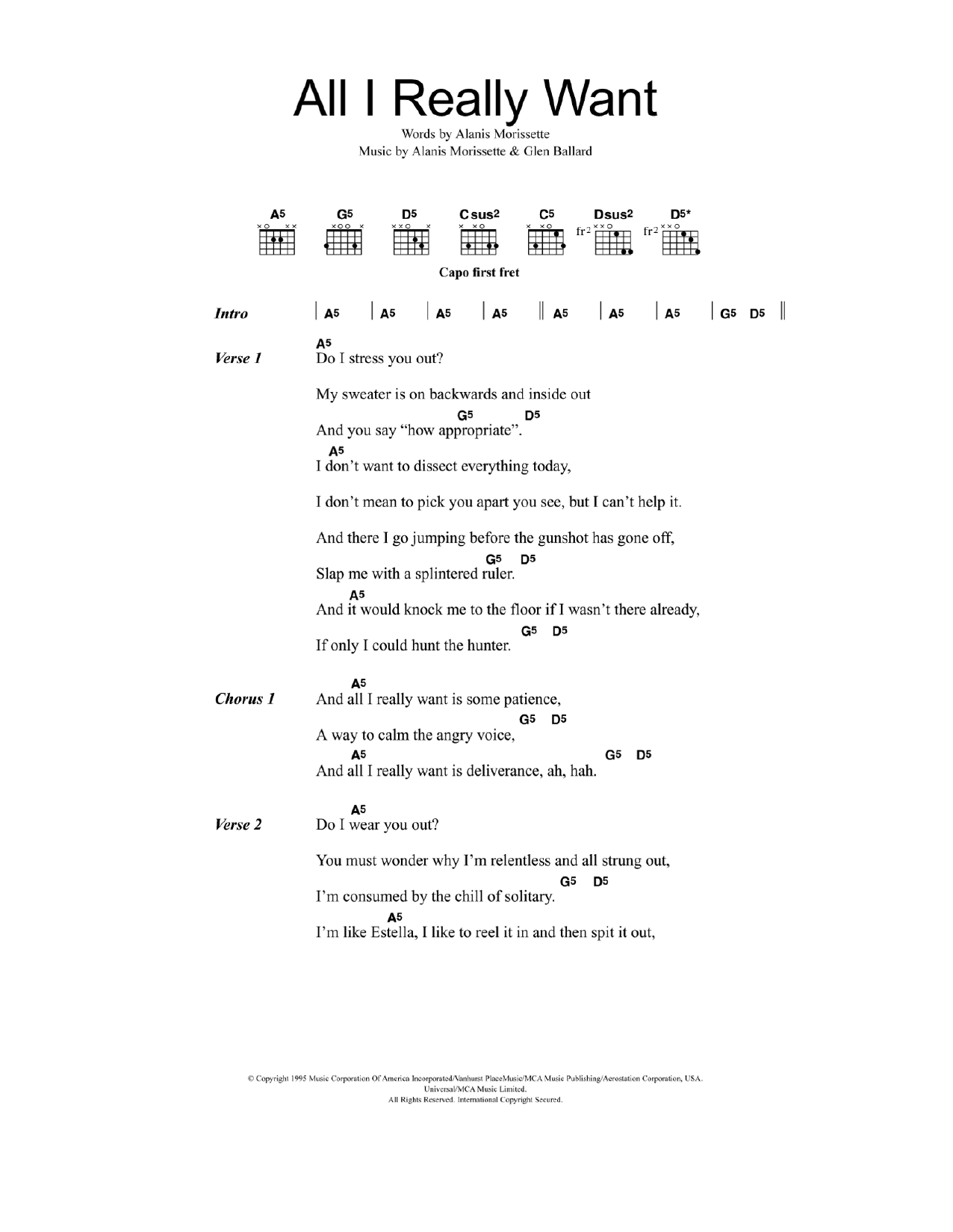 All I Really Want Sheet Music Alanis Morissette Lyrics Chords