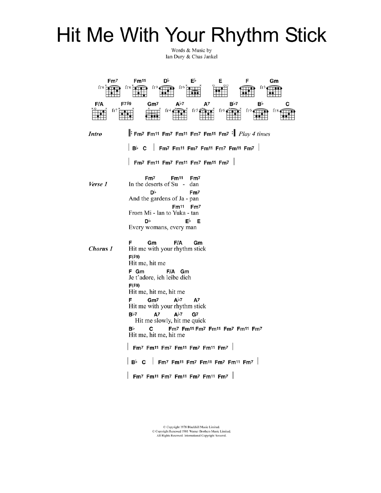 Hit me with your rhythm stick by ian dury the blockheads the most accurate tab hexwebz Choice Image