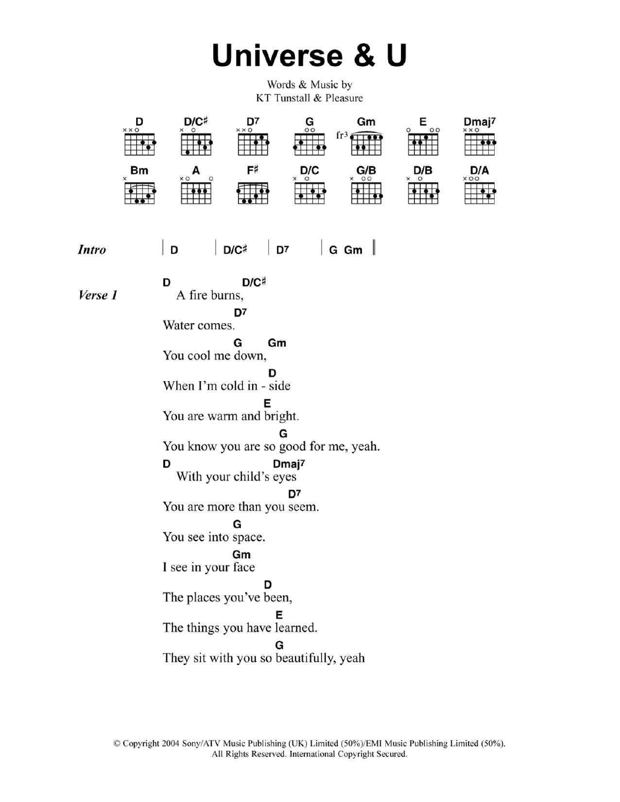 Universe and U by KT Tunstall - Guitar Chords/Lyrics - Guitar Instructor