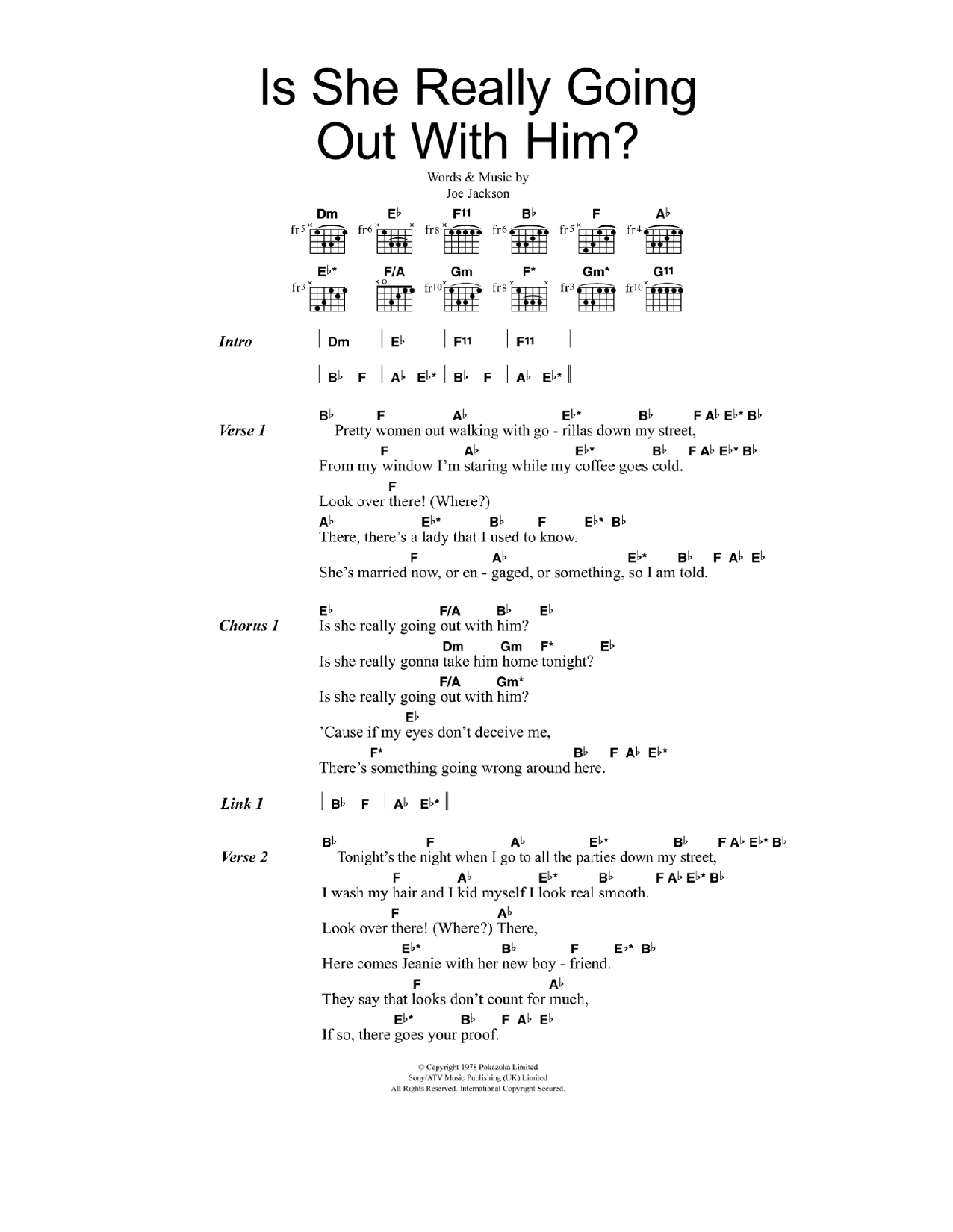 Is She Really Going Out With Him? Sheet Music