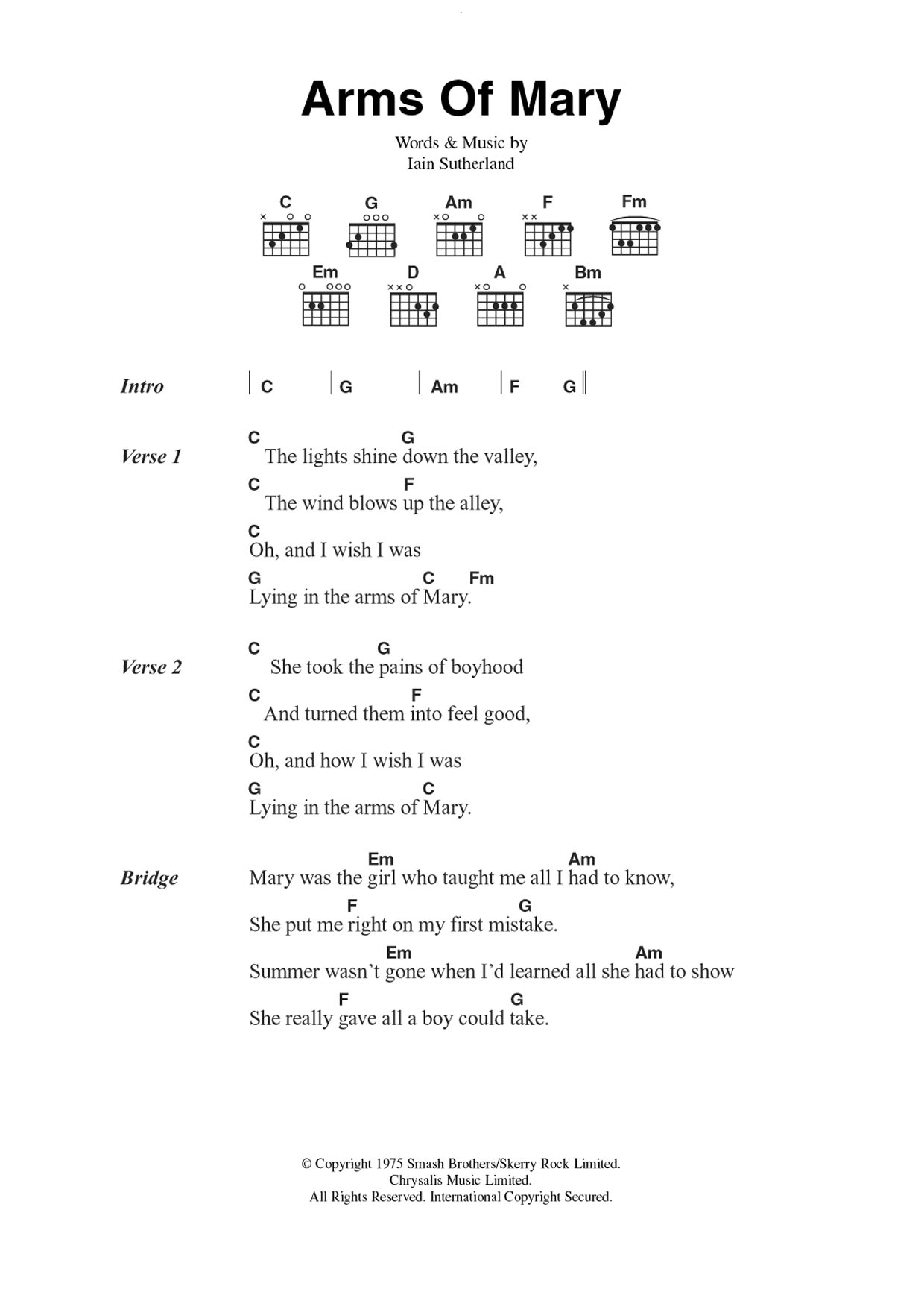 Arms Of Mary Sheet Music