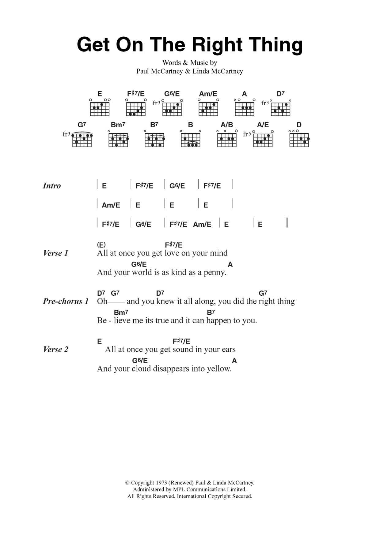 Get On The Right Thing Sheet Music