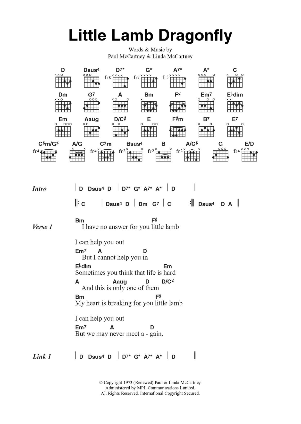 Little Lamb Dragonfly Sheet Music