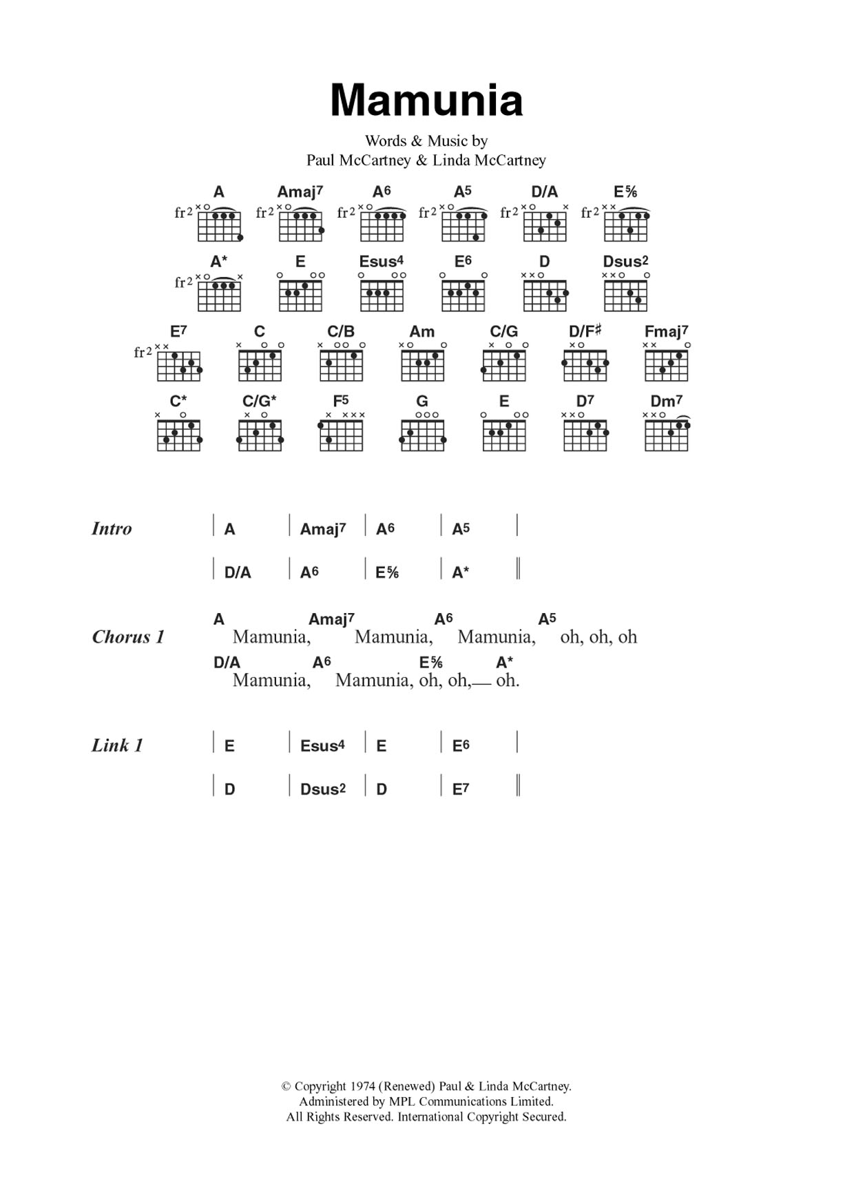Mamunia Sheet Music