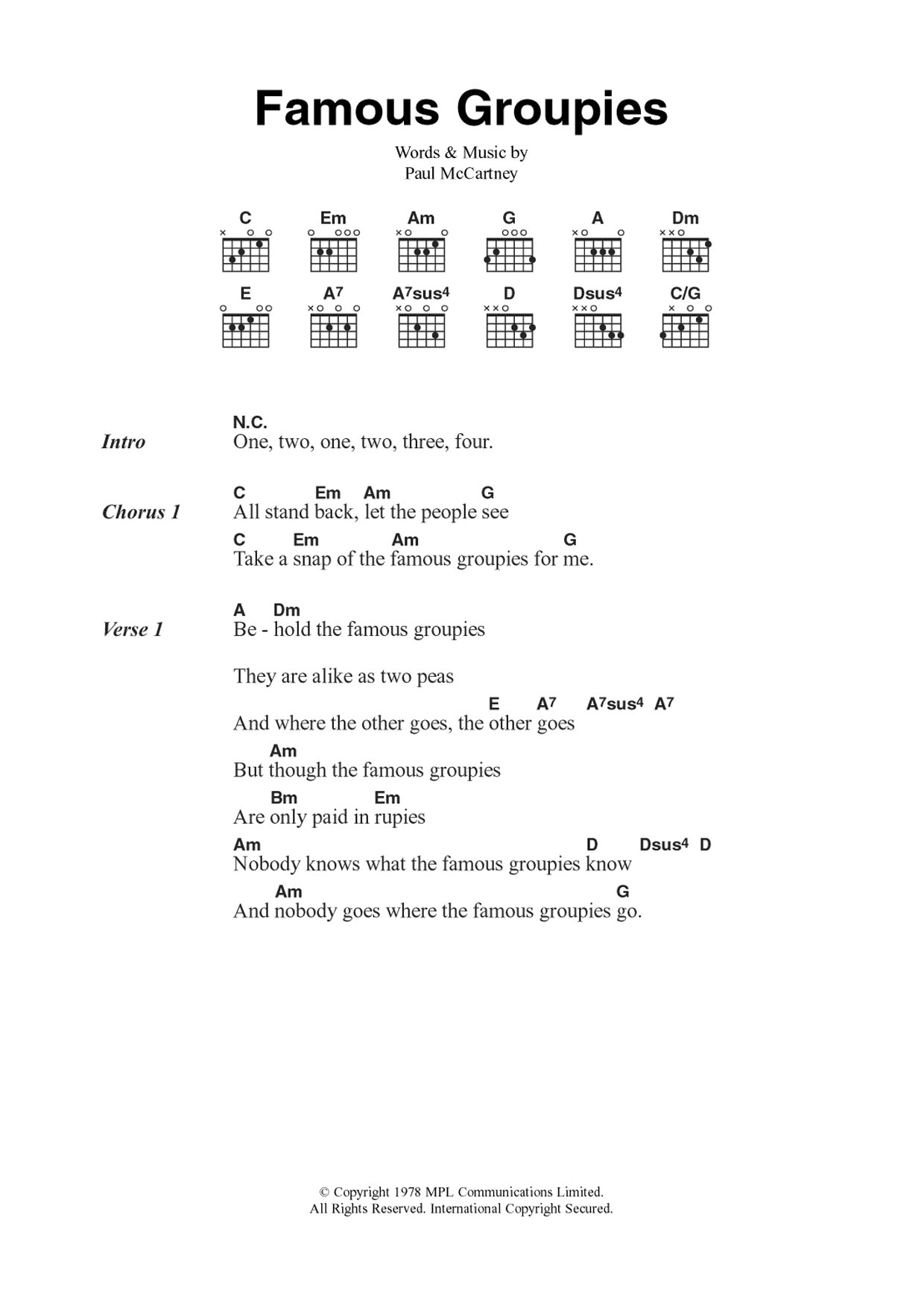 Famous Groupies Sheet Music