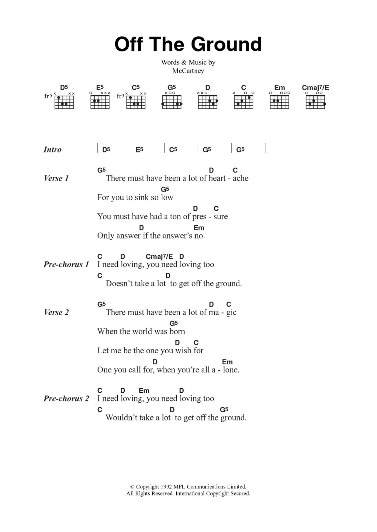 Off The Ground Sheet Music