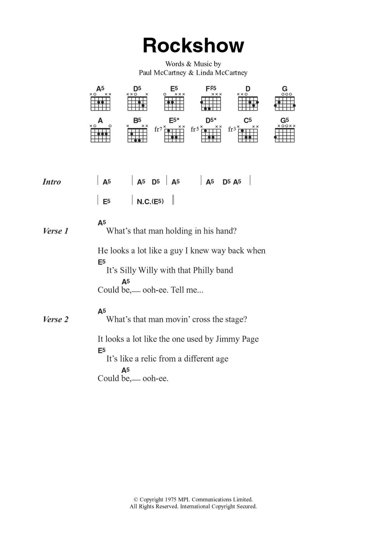 Rockshow Sheet Music