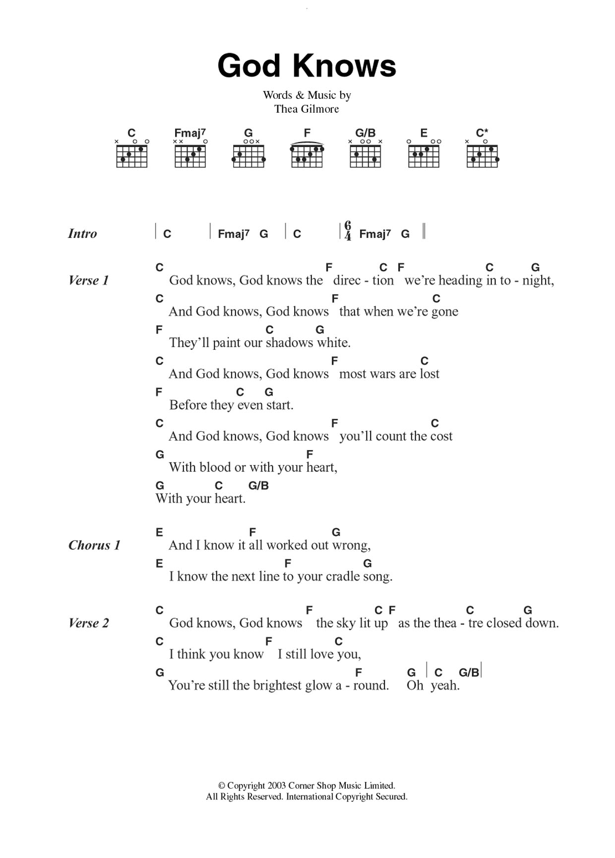 God Knows by Thea Gilmore - Guitar Chords/Lyrics - Guitar