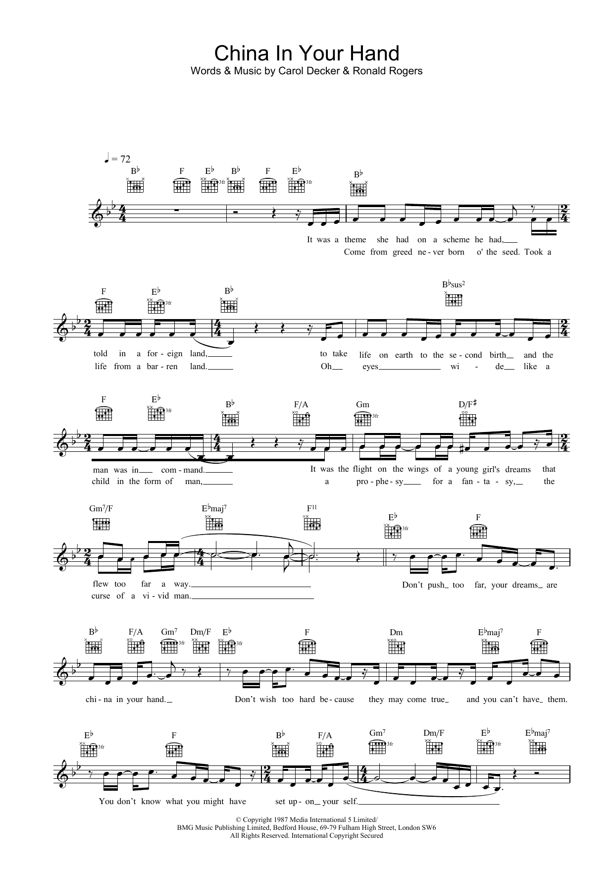 China In Your Hand Sheet Music