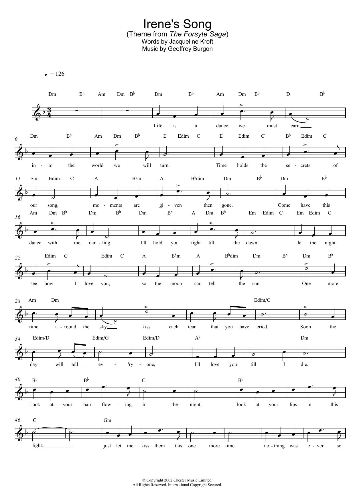 Irene's Song (theme from The Forsyte Saga) Sheet Music