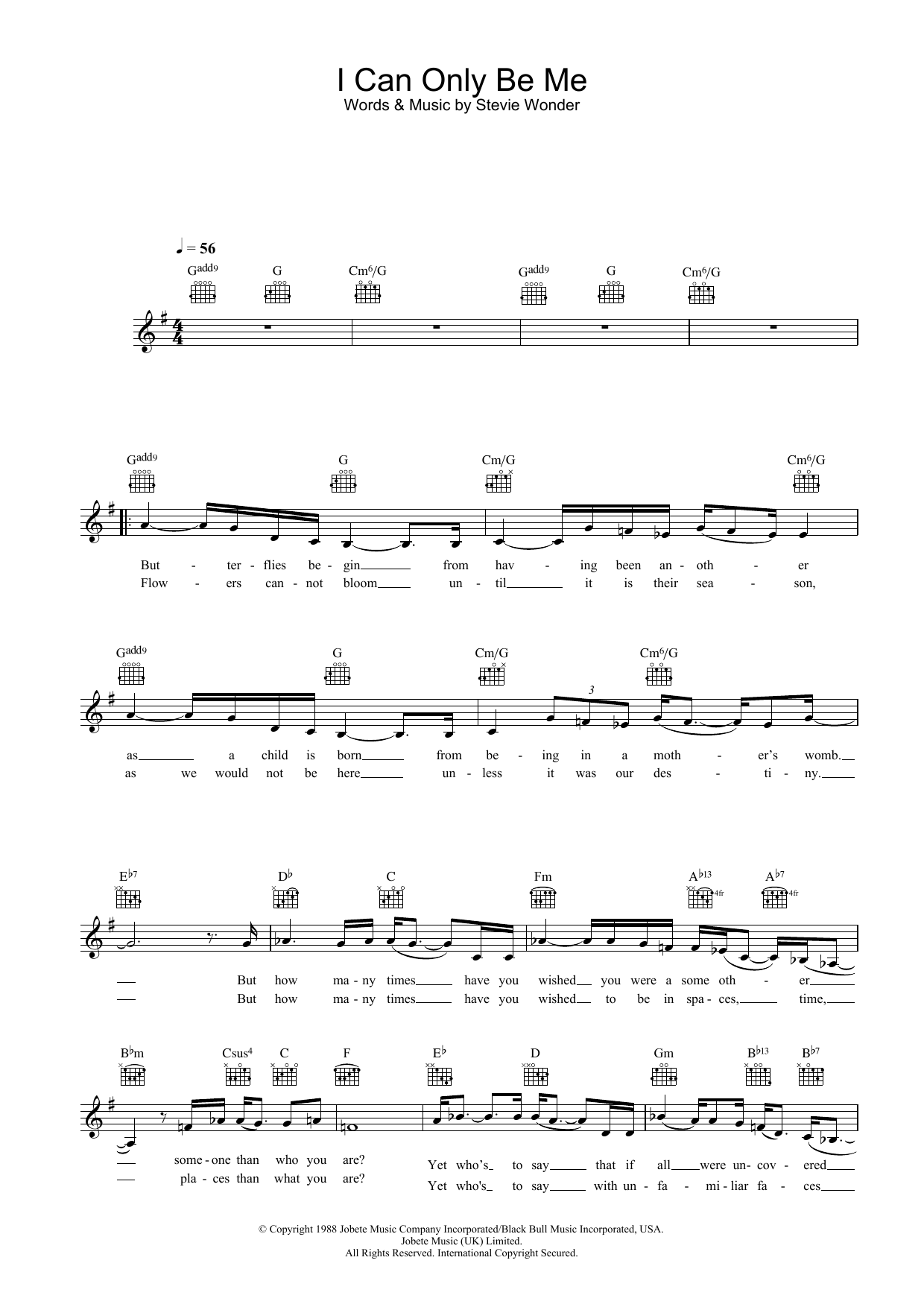 I Can Only Be Me Sheet Music