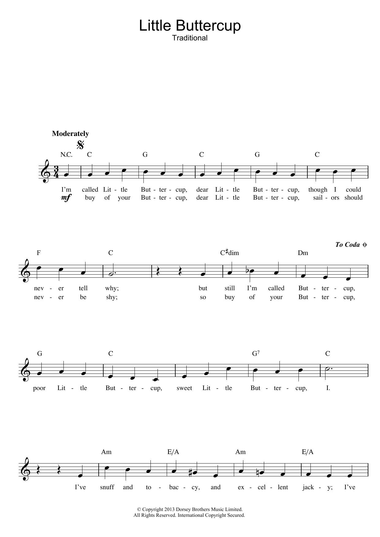 Little Buttercup (HMS Pinafore) Sheet Music