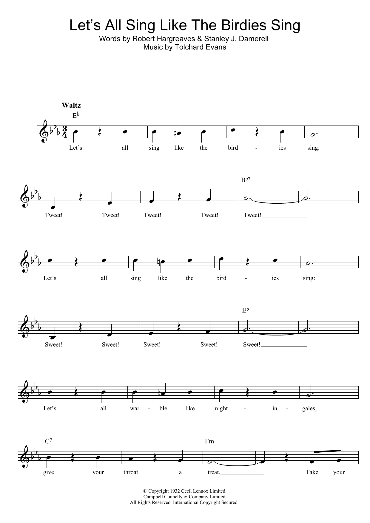 Let's All Sing Like The Birdies Sing Sheet Music