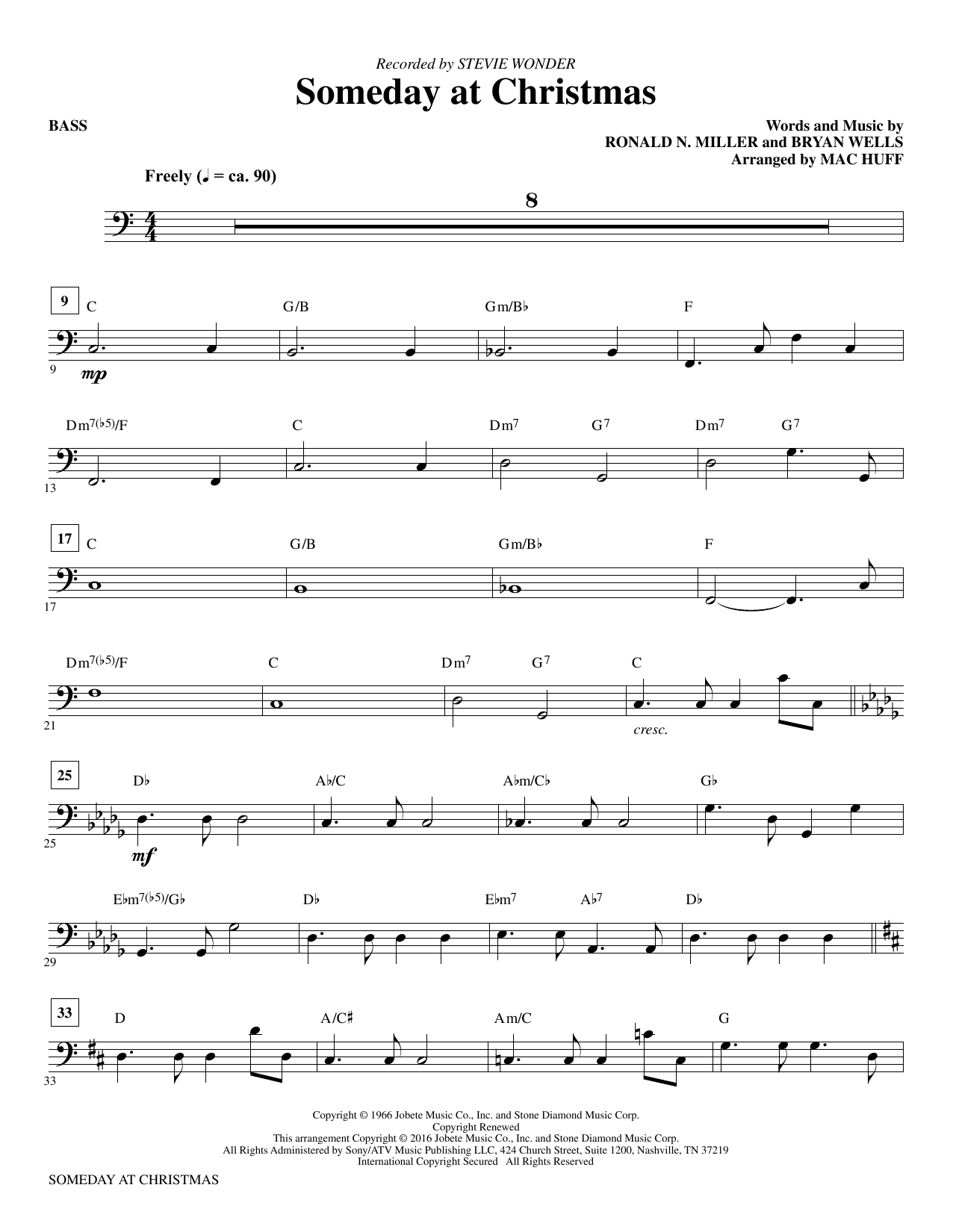 Someday at Christmas (arr. Mac Huff) - Bass (Choir Instrumental Pak)