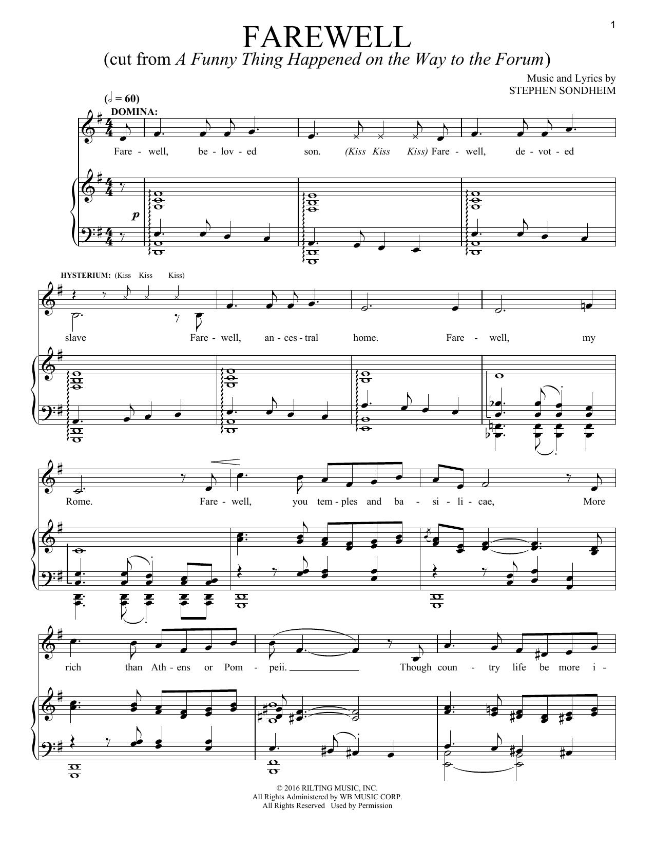 Farewell (Piano & Vocal)