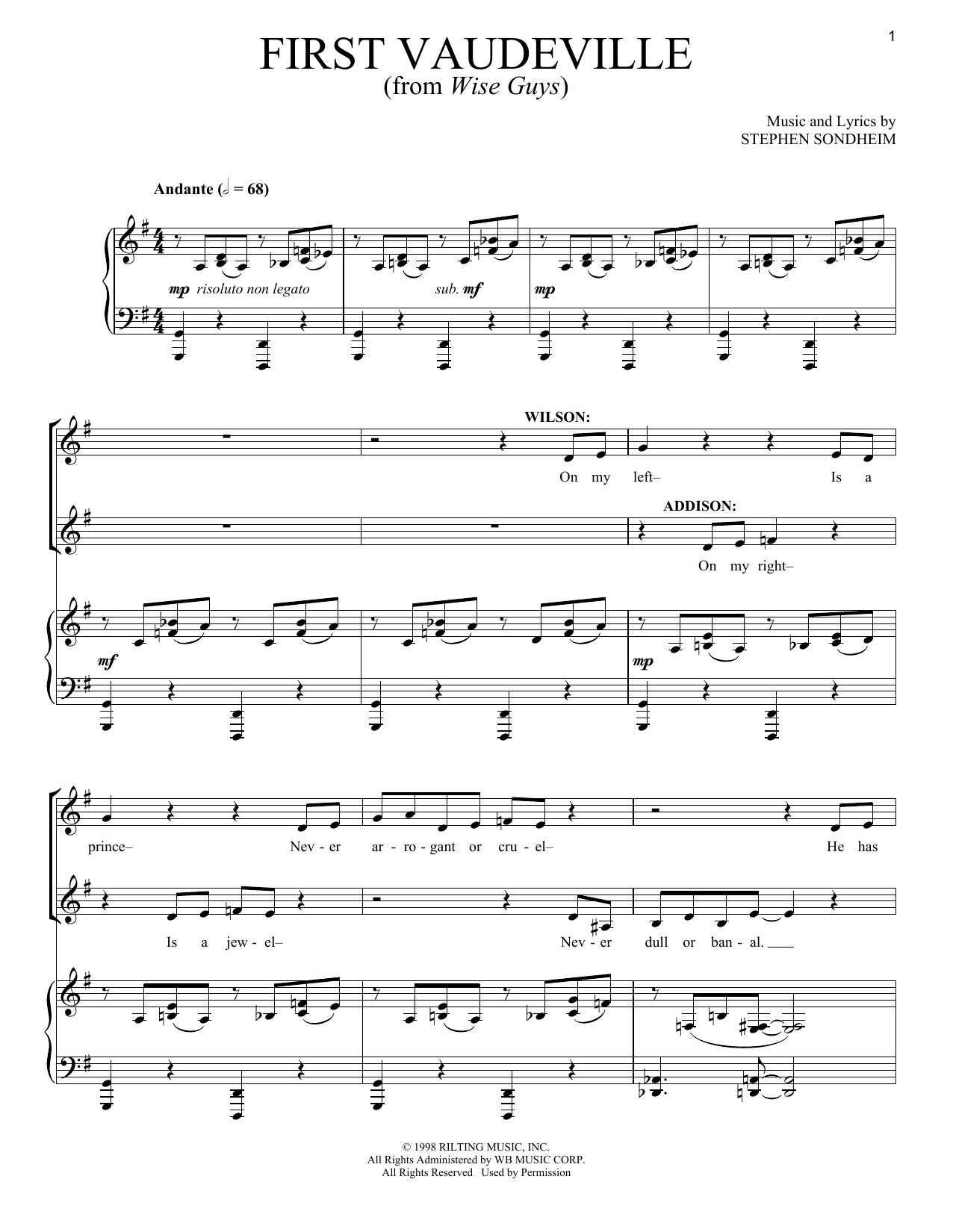 First Vaudeville (Piano & Vocal)