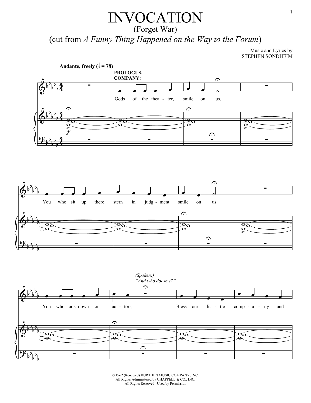 Invocation (Forget War) (Piano & Vocal)