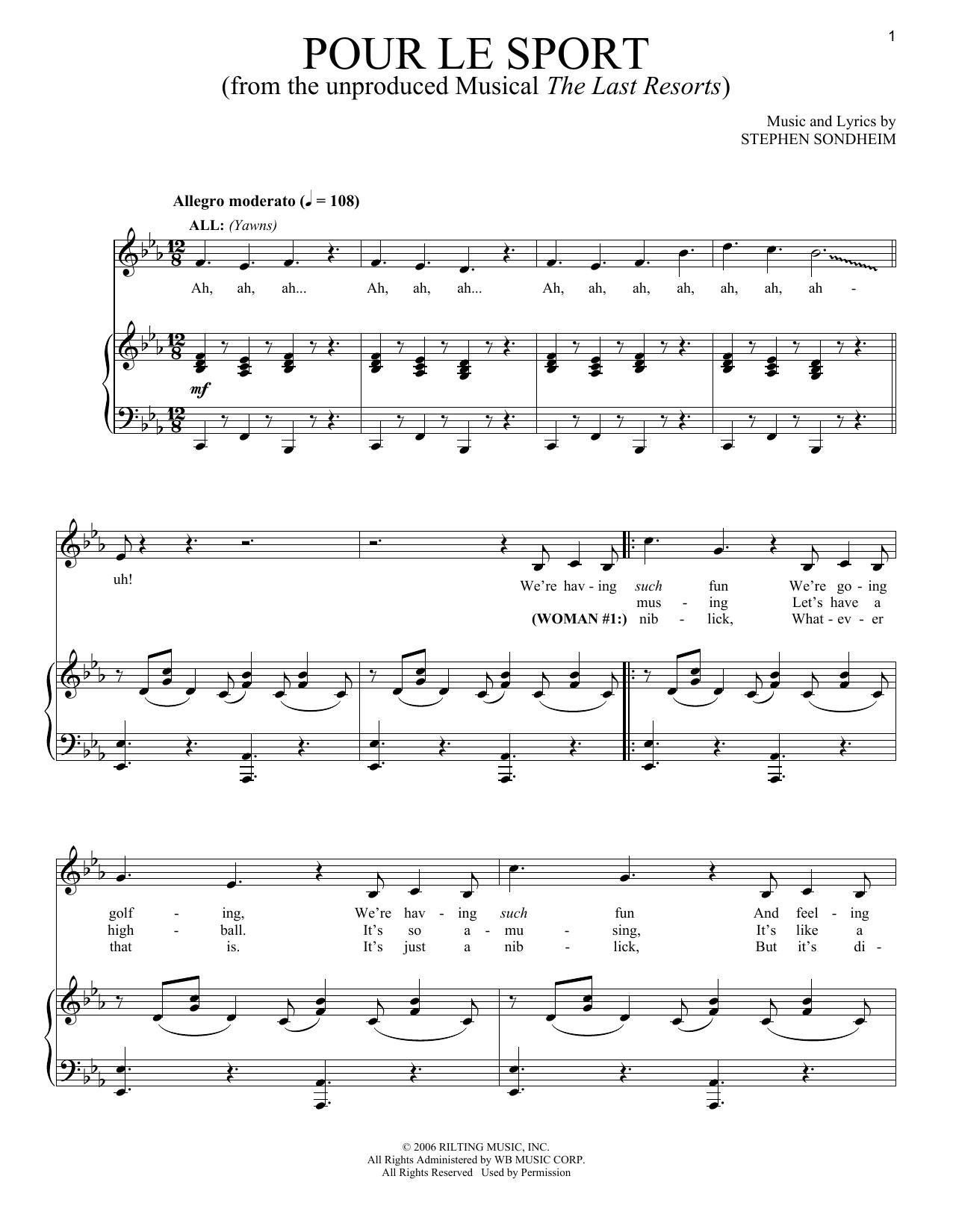Pour Le Sport (Piano & Vocal)