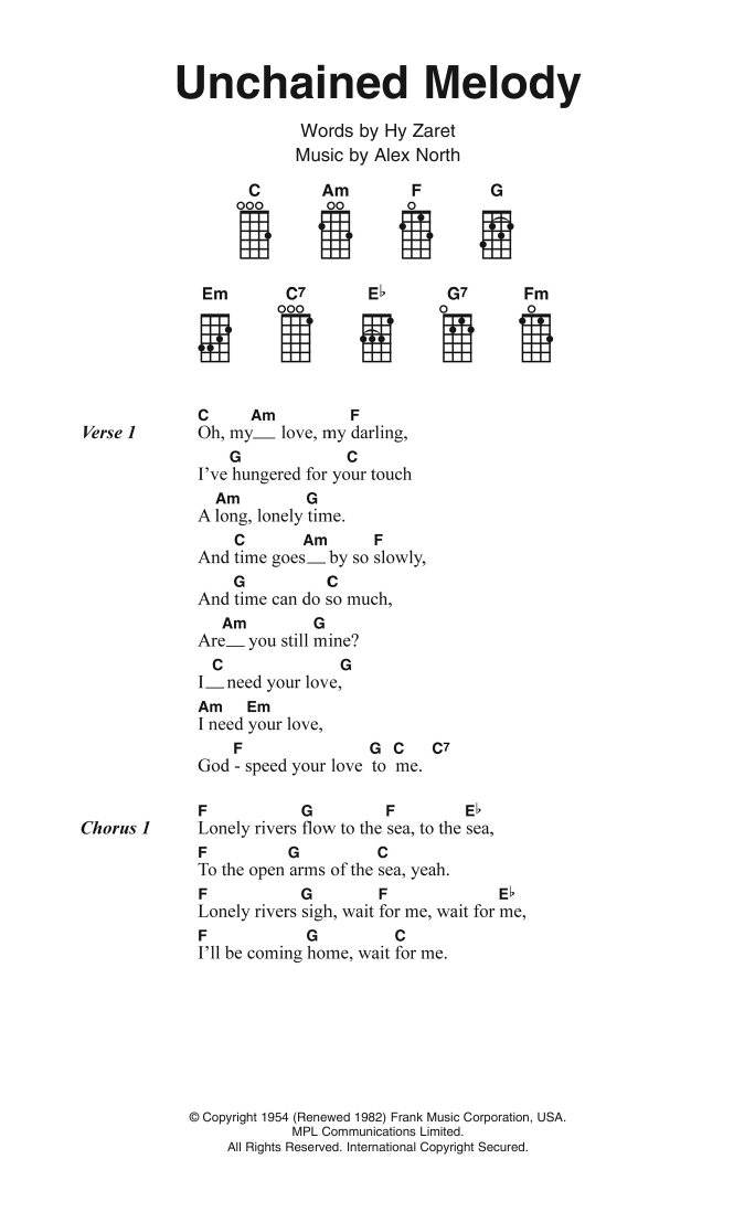 Unchained Melody Sheet Music The Righteous Brothers Ukulele