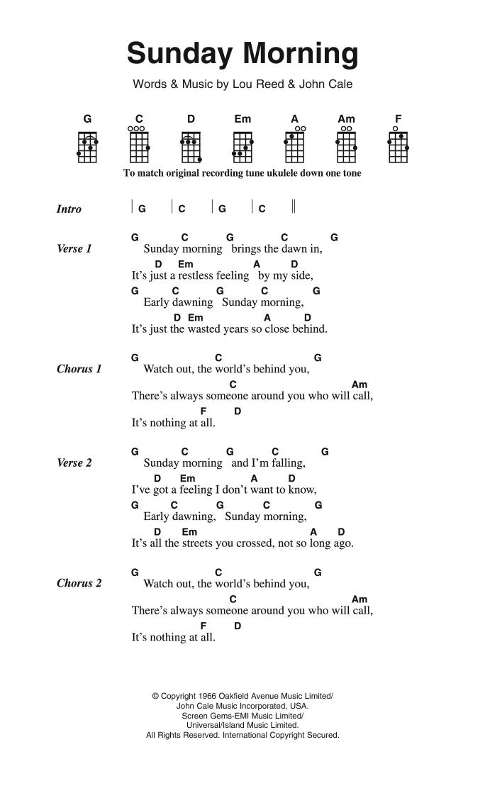 Sunday Morning The Velvet Underground Ukulele Lyrics Chords