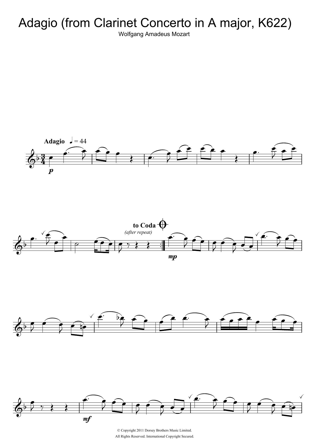 Slow Movement Theme From Clarinet Concerto K622 By Wolfgang Amadeus Mozart Lead Sheet Fake Book Digital Sheet Music
