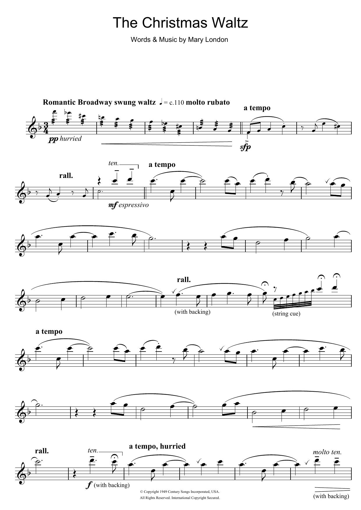 Christmas Waltz Chords.Mary London The Christmas Waltz At Stanton S Sheet Music