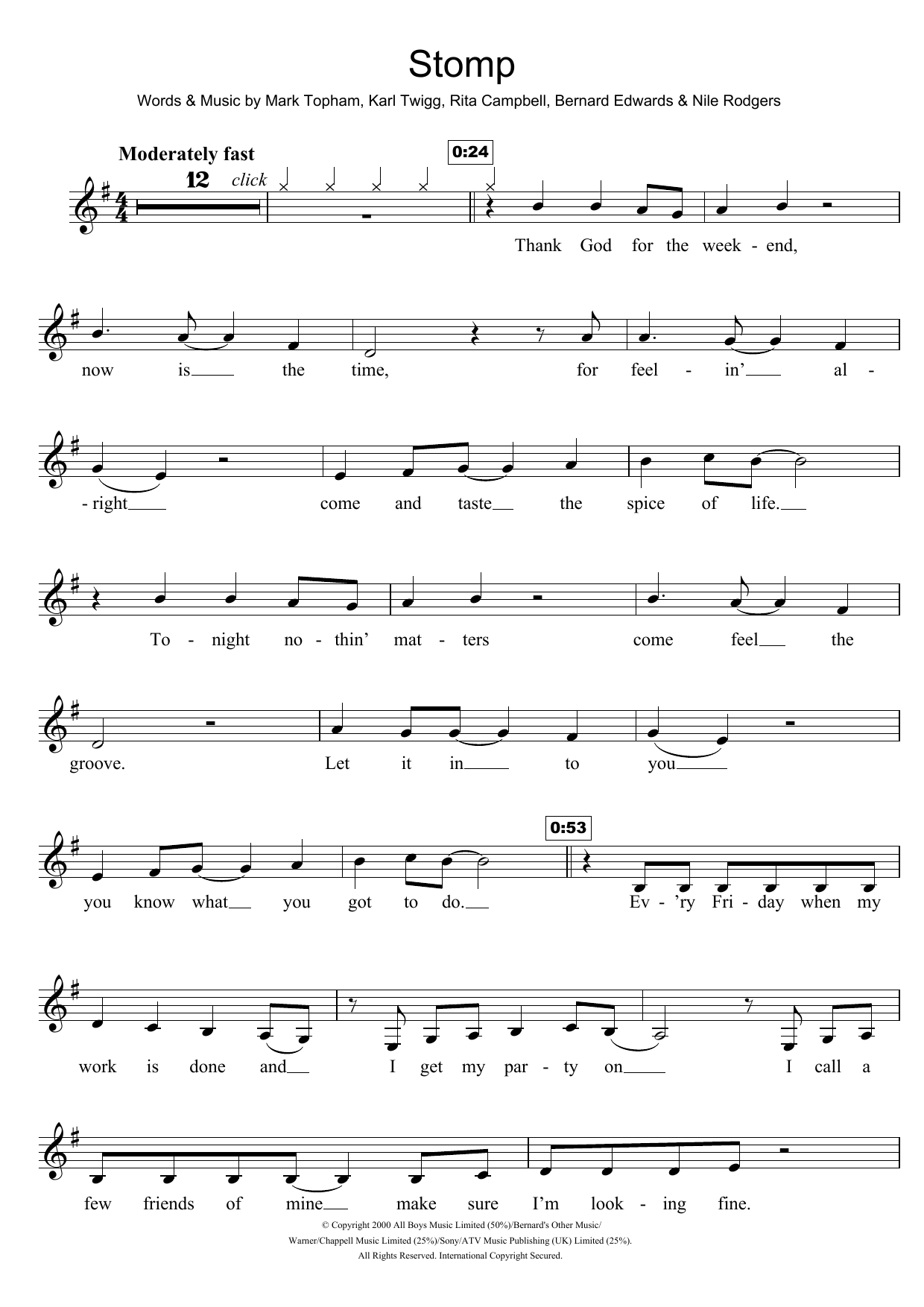 Stomp Sheet Music