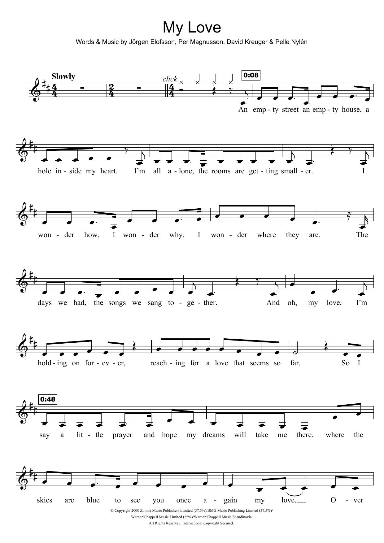 My Love Westlife Clarinet