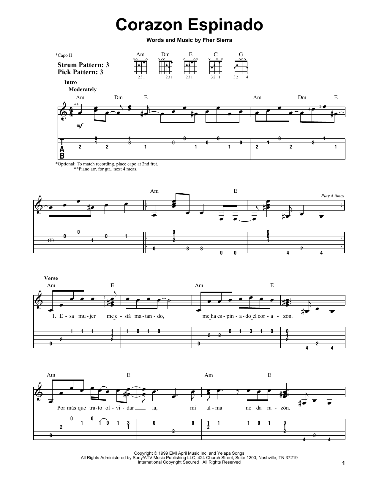 Corazon Espinado By Santana Easy Guitar Tab Guitar Instructor