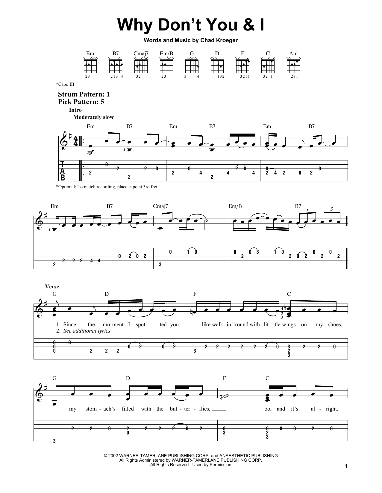 Why Don't You & I (Easy Guitar Tab)