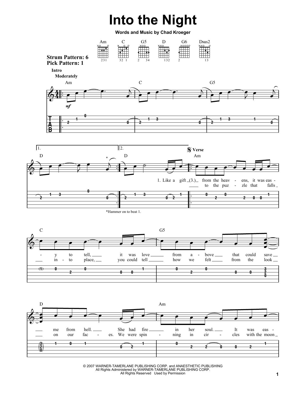 Into The Night By Santana Easy Guitar Tab Guitar Instructor