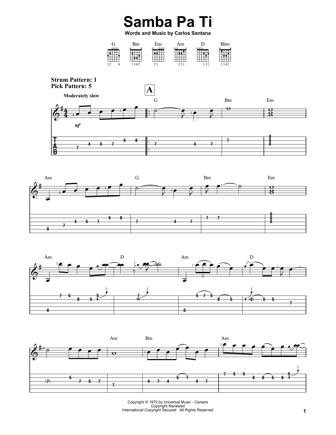 Samba Pa Ti By Santana Easy Guitar Tab Guitar Instructor