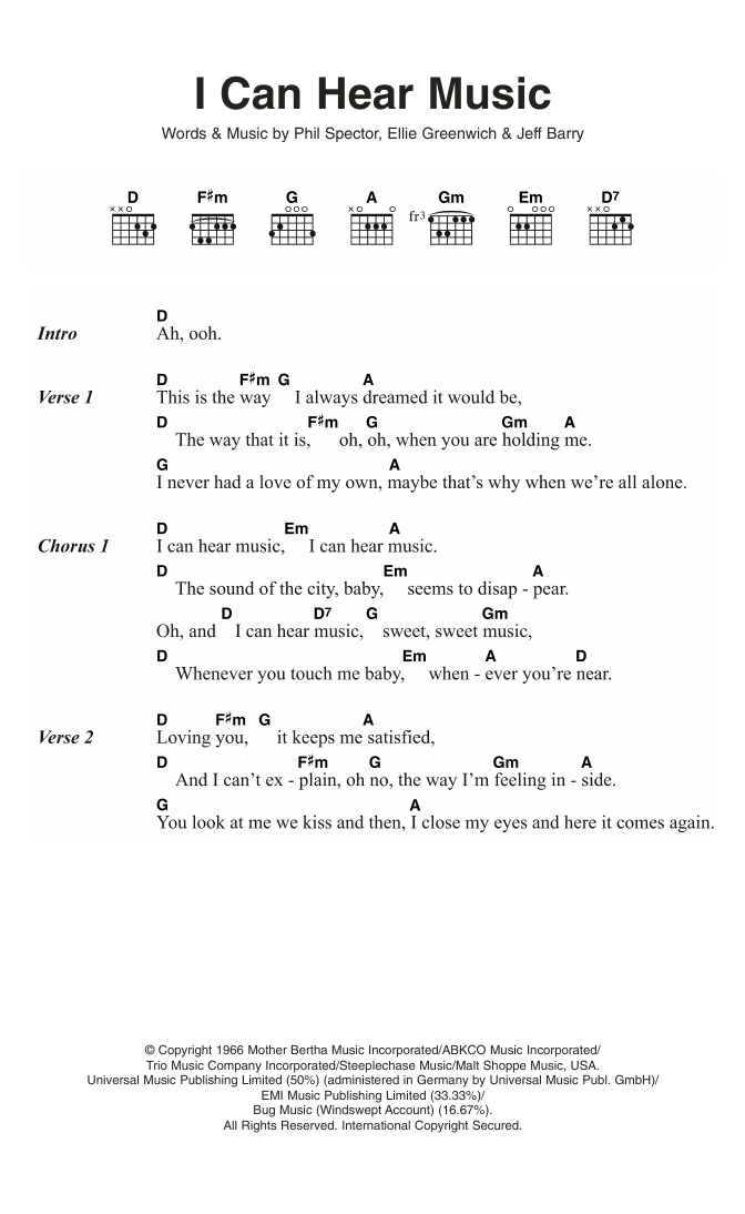I Can Hear Music by The Beach Boys - Guitar Chords/Lyrics - Guitar ...